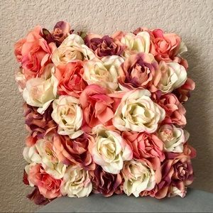 """VINTAGE Rose-Covered Satin Accent Pillow 12""""x12"""""""